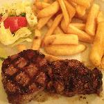  Steak with fries and salad