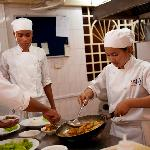 Cooking students working their skills