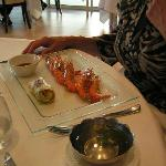  My wife&#39;s starter - gambas imperial from Marennes Oleron, Thai sauce, with mango and avocado sal