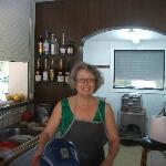 Rena in the kitchen working hard and producing excellent food