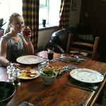 enjoying our meal in helyg cottage