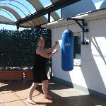 the punching bag as part of the gym on the roof terrace