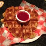  Belgium waffle with raspberry sauce