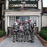 Members of the London pearly kings & queens society outside the hotel