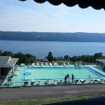 View of the pool, rooms and lovely Lake Seneca from the Montage restaurant