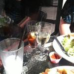 cremosa, ice tea, and Pinot Gris make for a lovely afternoon at a table outside