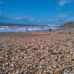  Sunny day at beach at Grange Chine, looking towards Freshwater Bay