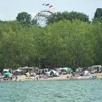 Camper's on the beach and Waldameer's Rollercoaster in the skyline