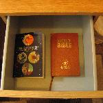 Hitchhiker's Guide to the Galaxy compendium in the bedside drawer