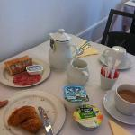  Delicious breakfast! Cold meats and cheese on fresh croissants :)