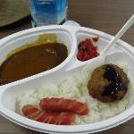  standard dinner fare - curry with rice, hamburger and sausages