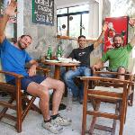 Stelios the owner in the middle