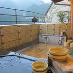 The outdoor onsen at the roof top of the hotel