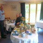 The breakfast buffet is delicious but not fussy. Here, Hugh chats with my buddies.