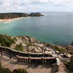 View of the Minack Theatre and beaches