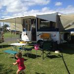 our setup at the caravan park. the site was really clean, well kept and spacious.