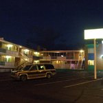 The Crossroads Motel after dark.