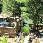  View of the swimming area, decks and waterfall