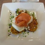 Corn & zucchini fritters with poached eggs & smoked salmon