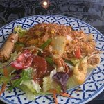 Pad Thai, salad and egg roll.