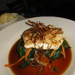 halibut over spinach and carrots