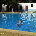  our son enjoying the pool