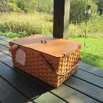 Picnic basket with gourmet breakfast delivered to your door.
