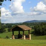 The gazebo with its view overlooking the Blue Ridge