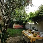 a dream: breakfast in the garden under an oleander-tree