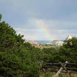Distant rainbow, taken from the cabin back yard