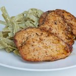 Grilled chicken breast and pasta