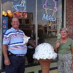 Enjoying our Ice cream in front of Mike's