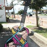 Guitar in front of Johnnie's Drive In
