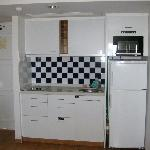 Kitchen in the 2 room apartment with seaview