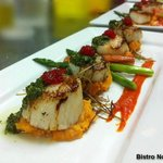 Nolah scallops with salsa verde and caviar