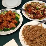 Kung Pao Beef, Orange Chicken, and Lo Mein Noodles