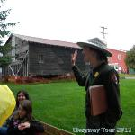 Park ranger telling us about Moore House and cabin in Light Rain