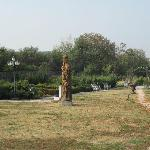 Quirky sculpture and slightly overgrown grounds