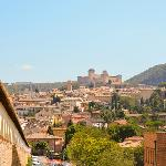 View looking back towards Spoleto and Hotel Dei Duchi (large building on the right)