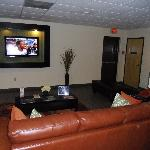 Lobby was very comfortable with a remote control out for the large TV.  They also had a desktop