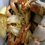 Fresh crab cooked in brine.