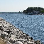 The channel between Muskegon Lake and Lake Michigan