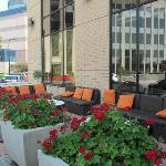 Seating area outside entrance. Surrounding streets are not that busy. Nice area to relax.