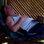  hubby having a little snooze on the deck of our Kabana