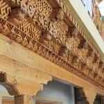 Carving on wooden beams