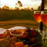  local produce, strawberries and cheese looking out to the bush