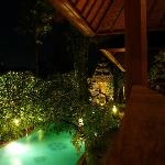 View from our balcony towards the pool by night