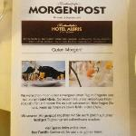 "Morning Mail (""Morgenpost"") information leaflet Hotel Albris"