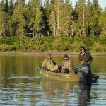  Guests and guide prepare for fishing on Wood River for silver salmon.