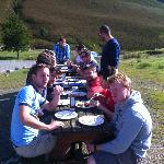 Eating breakfast outside Coniston Coppermines YHA